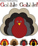Happy Thanksgiving!. Spotted turkey stickers in  format Stock Photo