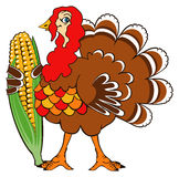 Happy Thanksgiving!. Turkey with corn wish you a Happy Thanksgiving Day Stock Photography