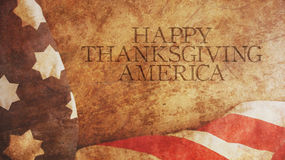 Happy Thanksgiving America. Flag. And Wood Royalty Free Stock Photos