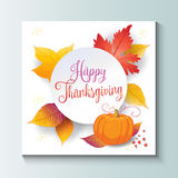 Happy Thanksgiving Autumn leaves white paper Royalty Free Stock Image