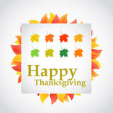 Happy thanksgiving autumn set of leaves sign Stock Photography
