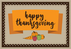 Happy Thanksgiving autumn vegetables design. EPS 10 vector royalty stock illustration for greeting card, ad, promotion, poster, flier, blog, article, social Royalty Free Stock Photos
