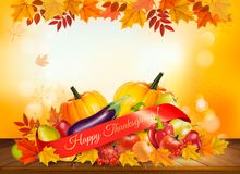 Happy Thanksgiving background with autumn vegetables. And colorful leaves. Vector stock illustration