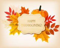 Happy Thanksgiving background with colorful autumn leaves Royalty Free Stock Photo