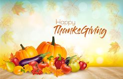 Happy Thanksgiving Background with colorful fruit and vegetables. Vector Royalty Free Stock Images