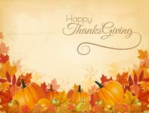 Happy Thanksgiving Background with colorful leaves stock illustration