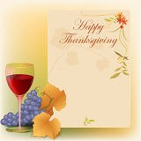 Happy Thanksgiving background with grapes. Vine leaf and floral arrangement, fit as poster, for greeting or holiday luxury postcard, decorative page cover Stock Photo
