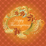 Happy Thanksgiving background with maple leaf Stock Photos