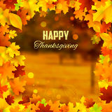 Happy Thanksgiving background with maple leaves Royalty Free Stock Photo