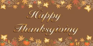 Happy thanksgiving. Background with pumpink and leaves Stock Photography