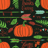 Happy ThanksGiving background with pumpkins Stock Photos