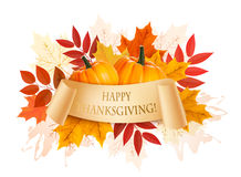 Happy Thanksgiving Background With Colorful Autumn Leaves Stock Images