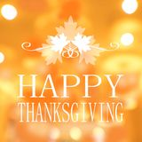 Happy Thanksgiving banner, Autumn blur background.  Stock Image