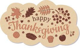Happy Thanksgiving. Banner. Beige cloud with inscription, a branch and berries of mountain ash, leaves of oak, maple and mountain vector illustration