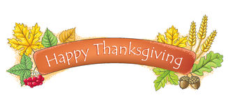 Happy Thanksgiving banner. Contains transparent objects. EPS10 Stock Photos