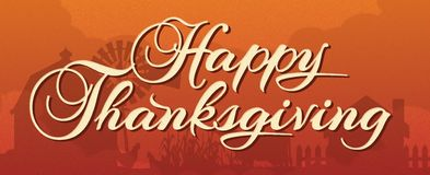 Happy Thanksgiving Banner with Farm Scene royalty free illustration