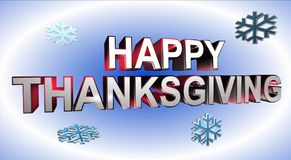 Happy Thanksgiving banner. Happy Thanksgiving in 3D block letters with snow flakes on white and blue background Stock Image