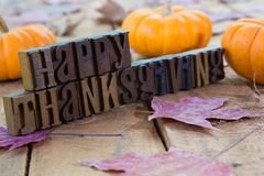 Happy Thanksgiving Banner. With pumpkins and autumn leaves royalty free stock images