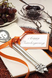 Happy Thanksgiving beautiful table setting - close up Stock Images