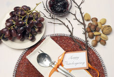 Happy Thanksgiving beautiful table setting Stock Photography