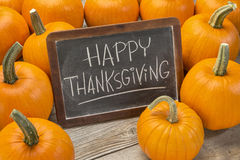 Happy Thanksgiving on blackboard Stock Images