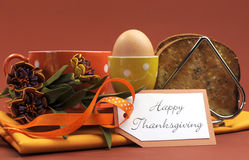 Happy Thanksgiving breakfast with egg horizontal. Royalty Free Stock Photo