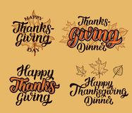 Happy thanksgiving brush hand lettering collection, on orange background. Calligraphy vector illustration. royalty free illustration
