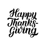 Happy thanksgiving brush hand lettering, isolated on white background. Calligraphy vector illustration.   Stock Photography