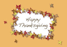 Happy Thanksgiving Card. Bordered by autumn leaves Stock Image
