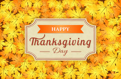 Happy thanksgiving card. On autumn background with leaves, vector illustration Stock Image