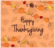 Happy Thanksgiving Card. Or Background. Vector Illustration Stock Photo