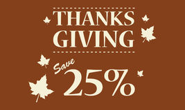 Happy Thanksgiving card brown background. Vector illustration Stock Images