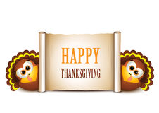 Happy Thanksgiving card. Cartoon turkeys in a pilgrim hat. Stock Images