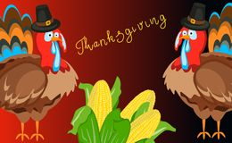 Happy thanksgiving card celebration banner design cartoon autumn greeting harvest season holiday brochure vector Stock Image