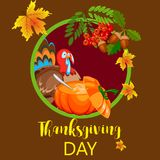 Happy thanksgiving card celebration banner design cartoon autumn greeting harvest season holiday brochure vector Royalty Free Stock Image
