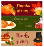 Happy thanksgiving card celebration banner design cartoon autumn greeting harvest season holiday brochure vector illustration. Traditional food dinner seasonal Royalty Free Stock Photo