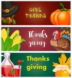 Happy thanksgiving card celebration banner design cartoon autumn greeting harvest season holiday brochure vector illustration. Traditional food dinner seasonal Royalty Free Stock Image