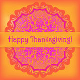 Happy Thanksgiving card. Congratulation on bright background with doily ornament. Vector illustration Stock Photos