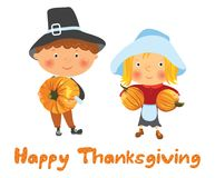 Happy Thanksgiving card. Cute cartoon girl and boy in pilgrim costume with pumkins, vector illustration Stock Image