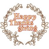 Happy thanksgiving card with decorative wreath. Colorful design. Vector illustration Royalty Free Stock Image