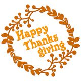 Happy thanksgiving card with decorative wreath. Colorful design. Vector illustration Royalty Free Stock Images