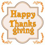 Happy thanksgiving card with decorative wreath. Colorful design. Vector illustration Stock Photo