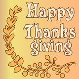 Happy thanksgiving card with decorative wreath. Colorful design. Vector illustration Royalty Free Stock Photography
