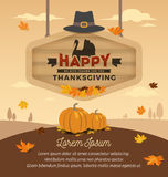 Happy Thanksgiving Card Design. Happy Thanksgiving Day On Wooden Board Hanging. Vector illustration Stock Photography