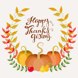 Happy Thanksgiving Card. Freehand Lettering And Colored Autumn Wreath. Stock Photography