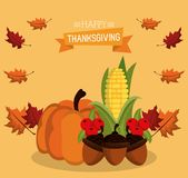 Happy thanksgiving card. Icon vector illustration graphic design Royalty Free Stock Photo