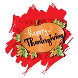 Happy Thanksgiving card. Happy Thanksgiving card with pumpkin Stock Image