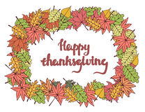 Happy thanksgiving card with lettering. Stock Image