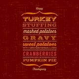 Happy Thanksgiving card with menu. List of typical foods served at Thanksgiving dinner. Vintage typefaces Royalty Free Stock Photos