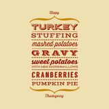 Happy Thanksgiving card with menu. List of typical foods served at Thanksgiving dinner Royalty Free Stock Images